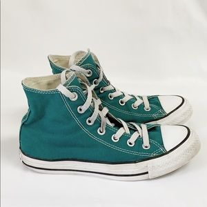 Converse All Star green canvas high top sneakers